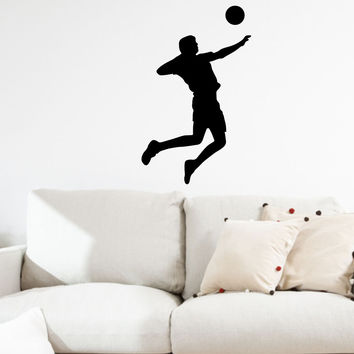 Volleyball Wall Sticker Decal - Male Player Hitter Silhouette Decoration - #1