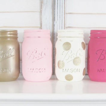 Baby Shower Centerpiece, Party Centerpiece, Table Decor, Rustic Decor, Shabby Chic, Painted Jars, Mason Jars, Distressed, Set of 4 Jars