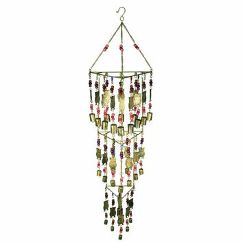 Beautifully Designed Iron Wind Chime, Multicolor By Benzara