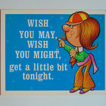 Vintage Wish you may Wish you Might 6 x 9 cardboard novelty sign 60's United Card Company Smile Plaque