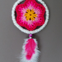 3.3 inch Crochet Flower Dreamcatcher - White and Pink Dream Catcher - Car Rear View Mirror Ornament - Nursery Room - Hippie Boho Home Decor