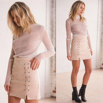 Women's Slit Lace Up High Waist Bodycon Faux Suede Skirt