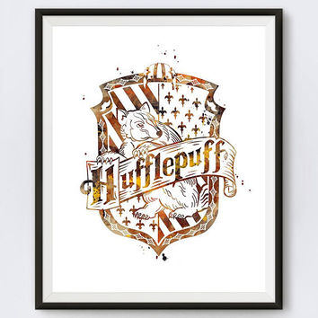 Hufflepuff Crest Watercolor Art Print Hufflepuff Crest Gifts Dobby Harry Potter Art Hufflepuff House Art Gift Digital Download