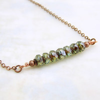 Elegant Industrial Necklace with Green Faceted Czech glass beads and copper gear spacers - Wire Wrapped Beaded Bar Necklace