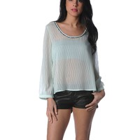 Lucca Couture 3/4 Sleeve Blouse - Sea foam