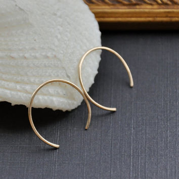 Tiny Threader Earrings, Gold C / U Threads, Minimal & Modern, Hammered Wire Jewelry for Everyday.