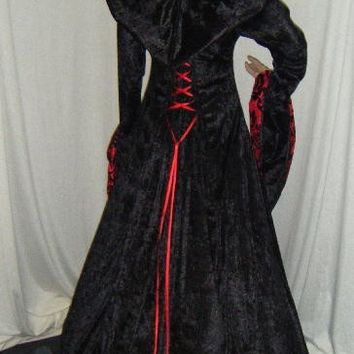 medieval renaissance vampire  hooded gown