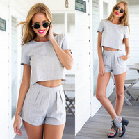 G&L 2015 New Summer Women Playsuit Sexy Beach Fashion Casual Short Sleeve Blouse crop top + Shorts 2pcs sets Jumpsuits & Rompers