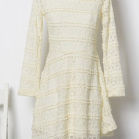 Sheer Long Sleeved with Striped Accent Lace Dress