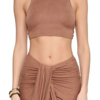 Caribe Faux Suede Crop Top