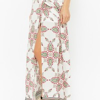 Ornate Mock-Wrap Maxi Skirt