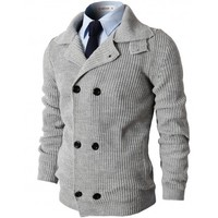 Mens Casual Knitted Slim Fit Double Breasted Cardigan Sweater (KMOCAL025)
