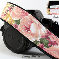 Roses dSLR Camera Strap with Pocket, Heirloom Vintage Pink and Gold Roses, SLR