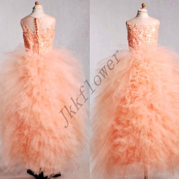 Cute Coral Scoop Neckline Flower Girl Dresses,Ball Grown Tulle Organza Girl's Pageant Dresses,Girl's Party Dresses,Home coming Dresses