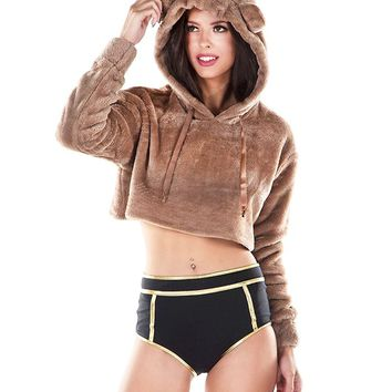 Love Bug Bear Ear Plush Cropped Hoodie Top