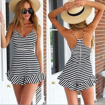Stripes Spaghetti Strap Backless Women's Fashion Jumpsuit [11597558031]
