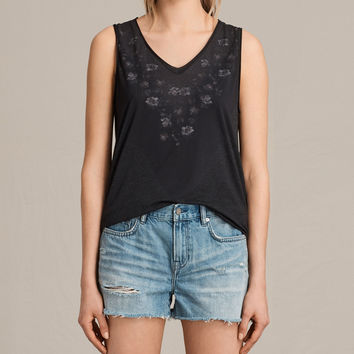 ALLSAINTS UK: Womens Loire V Ada V Neck Vest Top (DARK NIGHT BLUE)