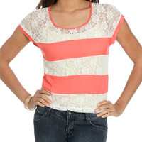 Lace Stripe Top | Shop Tops at Wet Seal