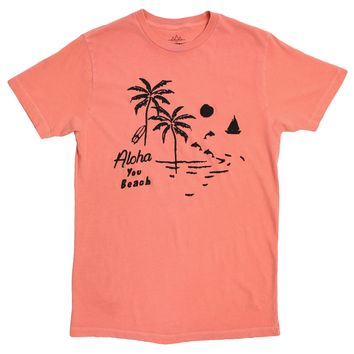 Aloha You Beach, cracked-ink graphic tee by Altru Apparel