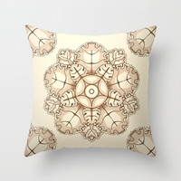 Beige elegant ornament fretwork Baroque style Throw Pillow by maria_so