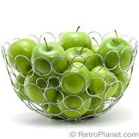 Chrome Circles Fruit Bowls Kitchen Accessories Tableware RetroPlanet.com