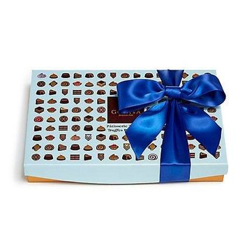 GODIVA PATISSERIE DESSERT TRUFFLES GIFT BOX ROYAL BLUE RIBBON 24 PC. $46
