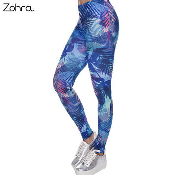 Zohra Women Leggings Tropical Leaves Printing