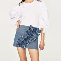 FRILLED DENIM MINI SKIRT