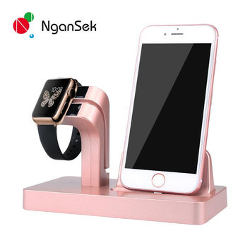 Desktop Charger Dock Phone Holder Mount Stand for Apple watch 38mm 42mm iphone 5 6 6s plus Lazy Man Bracket NganSek Original