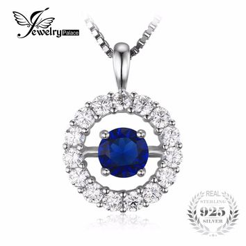 JewelryPalace 1ct Round Created Sapphire Halo Pendant Necklace 925 Sterling Silver Pendant for Women Fine Jewelry