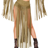 Olive Suede Long Fringe Shorts