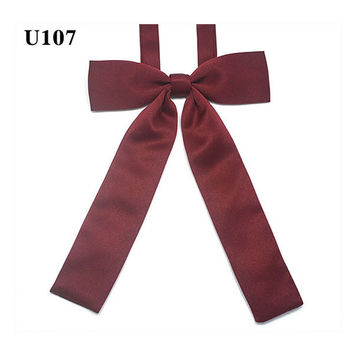 Free of Tying a Knot Solid Bow Tie JK Uniform Accessories Japanese High School Girls Neck Rope Butterfly Knot Cravat Preppy Chic