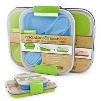 Collapsible Eco Lunch Box Set Color: Blue & Green
