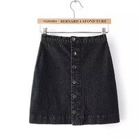 Denim Button A - line Skirts