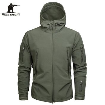 Mege Men's Military Style Hooded Tactical Sharkskin Soft Shell Camouflage Jacket/Coat