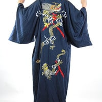 Vintage 70s silk Dragon embroidered Asian Kimono robe