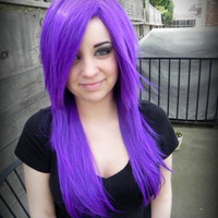 HAPPY HOLIDAYS SALE / Sirens Smokescreen / Purple / Long Straight Layered Wig