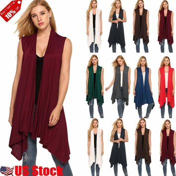 HOT Women Open Front Vest Long Tunic Shawl Collar Draped Sleeveless Cardigan Top