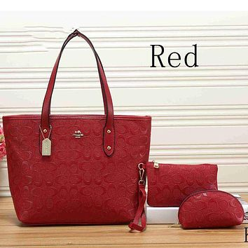 DCCKJ1A Coach women tide card three-piece leather handbag shoulder bag F-KSPJ-BBDL Red