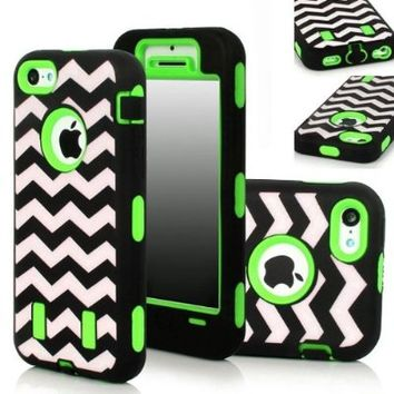 Tradekmk(TM) Unique Waving Paint Hard Plastic Silicone Armored Hybrid Case Cover Protector Fit For iPhone 5C(Black with Green), with Stylus Pen,Screen Protector and Cleaning Cloth