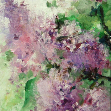 Abstract Flowers Painting, Original Oil Painting, Lilac Flowers, Palette Knife.