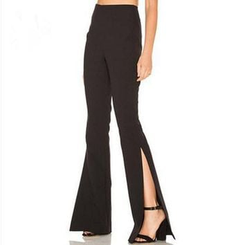 Women Solid Color Simple Fashion Split High Waist Flares Trousers Leisure Pants