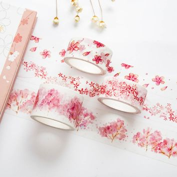 1 Pc 20/30mm*7m Cherry Blossoms Japanese Paper Washi Tape Office Adhesive Tape Kawaii Decorative Stationery Stickers