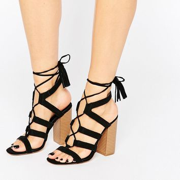 New Look Lace Up Suede Heeled Sandal