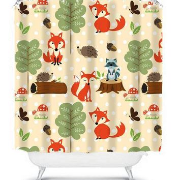 WOODLAND SHOWER CURTAIN, Custom Monogram Personalized Wood Forest Animals Fox Raccoon Pals Bathroom Bath Towel,  Bath Mat