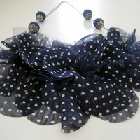 Navy Polka Dot and Denim Bib Necklace by HomespunGossamer on Etsy
