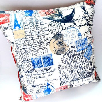 16x16 French Postage and Script Slipcover- Envelope Back Throw Pillow, Bird and Olive Branch, Blue Red and Cream, Handwritten, Under 20