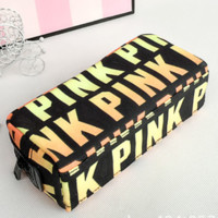 Victoria's Secret Canvas Travel Cosmetics PINK Letter Bag Pen Bag F0274-1