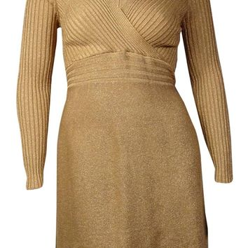 International Concepts Women's Ribbed Shiny Metallic Dress (L, Gold)