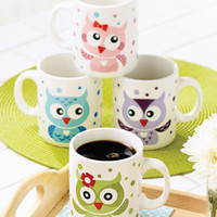 Whimsical Set Of 4 OWL Coffee Tea Mugs Cups Colorful Porcelain Kitchen Decor NEW